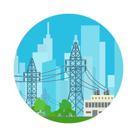 cable telefono: Icono Líneas de alta tensión suministros de electricidad a la ciudad, ilustración vectorial Vectores