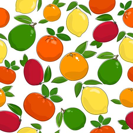 tangerine: Citrus Fruit Seamless Pattern , Juicy Lemon and Lime , Sweet Mandarin with Fresh Orange, Ripe Grapefruit and Red Mango, Vector Illustration Illustration