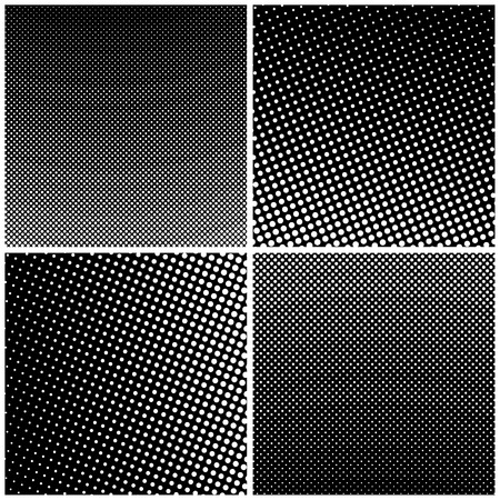 Set of Retro Style Pop Art, Black Background with White Dots, Gradient from Upper Right to Bottom Left and Vice Versa, Gradient Down Up and Vice Versa, Vector Illustration