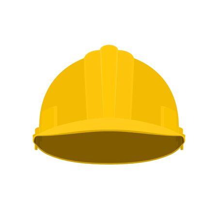 Working Hard Hat, Yellow Safety Helmet on White Background, Vector Illustration Vetores