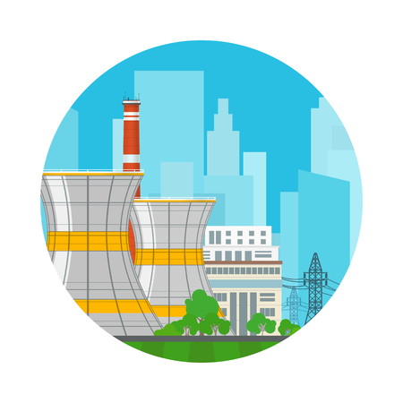 Icon Nuclear Power Plant on the Background of the City , Thermal Station, Electric Power Transmission from a Nuclear Plant, Vector Illustration Illustration