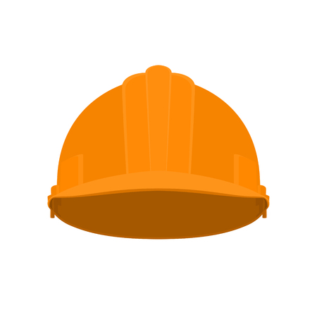 hard: Working Hard Hat, Orange Safety Helmet on White Background , Vector Illustration