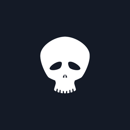 curse: White Funny Skull Isolated, Silhouette Skull on Black Background , Death s-head, Black and White Vector Illustration
