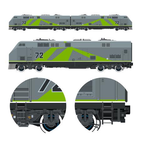 Two Locomotives coupled Together , Rail Transport Vehicle, Green Train, Rail Transportation, Vector Illustration