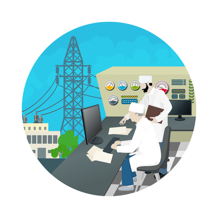 thermal power plant: Icon People near the Control Panel on Power Station , High Voltage Power Lines, Vector Illustration Illustration