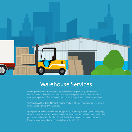 warehouse: Warehouse Services ,Warehouse with Forklift Truck on the Background of the City and Text, Transportation and Cargo Services and Storage, Flyer Brochure Poster Design, Vector Illustration