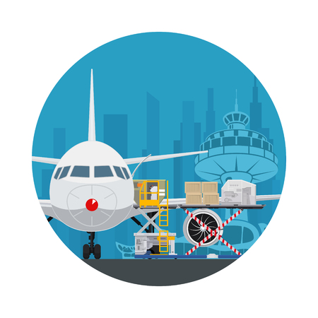 Icon Air Cargo Services and Freight, Airplane with Autoloader at the Airport on the Background of the City , Unloading or Loading of Goods into the Plane, Vector Illustration