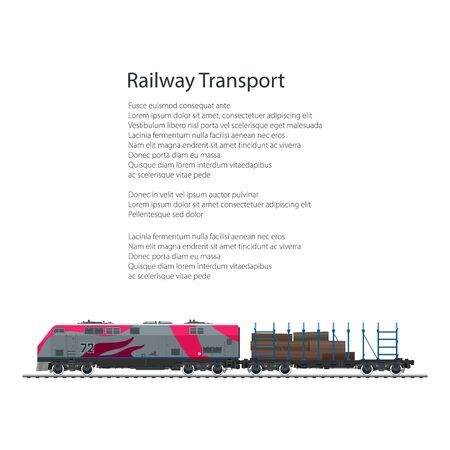provide: Brochure Locomotive with Railway Platform with Timber , Train Isolated on White Background and Text, Rail Freight, Poster Flyer Design, Vector Illustration