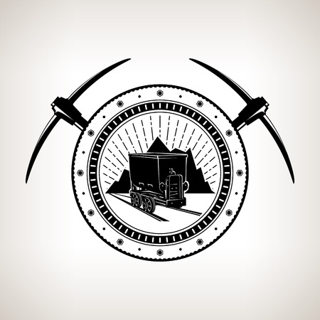 Vintage Emblem of the Mining Industry, Coal Mine Trolley against Mountains and Sunburst in a Gear with Two Crossed Pickaxes, Label and Badge Mine Shaft, Vector Illustration
