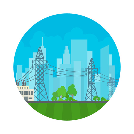 Icon High Voltage Power Lines Supplies Electricity to the City, Electric Power Transmission, Vector Illustration Illustration