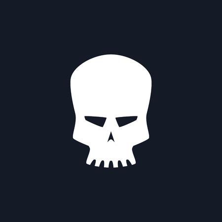White Robot Skull Isolated , Silhouette Skull on Black Background , Deaths-head, Black and White Vector Illustration