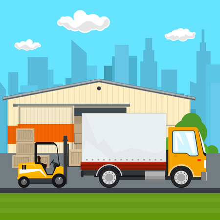 Warehouse and Transport Services ,Warehouse with Forklift Truck and Lorry on the Background of the City, Unloading or Loading of Goods, Vector Illustration