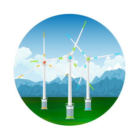 Pictogram Horizontale as Windturbines op een achtergrond van bergen, moderne Low-Wind Turbine, vectorillustratie Stock Illustratie
