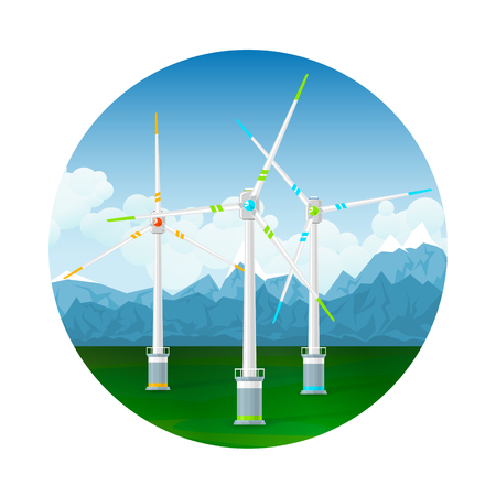 Icon Horizontal Axis Wind Turbines on a Background of Mountains, Modern Low-Wind Turbine, Vector Illustration