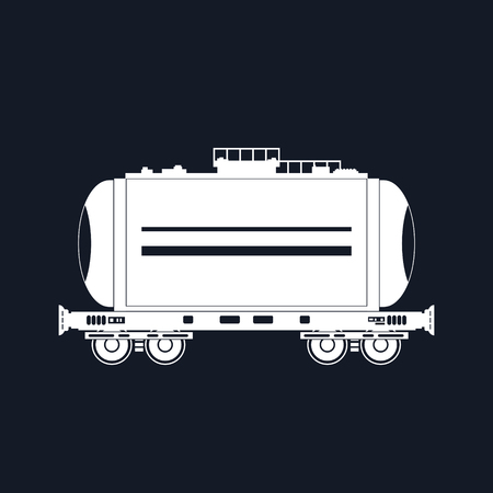 boxcar: White Silhouette Tank on Railway Platform Isolated on Black, Railway Transport Cistern for Transportation of Liquid and Loose Freights , Vector Illustration Illustration