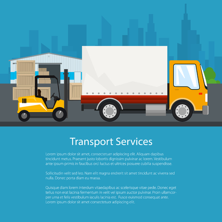 unloading: Warehouse and Transport Services ,Warehouse with Forklift Truck and Lorry on the Background of the City , Unloading or Loading of Goods and Text, Poster Flyer Brochure Design, Vector Illustration