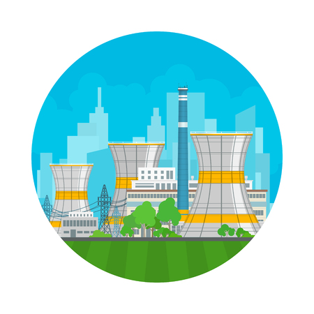 Nuclear Power Plant on the Background of the City , Thermal Station, Nuclear Reactor and Power Lines, Vector Illustration Illustration