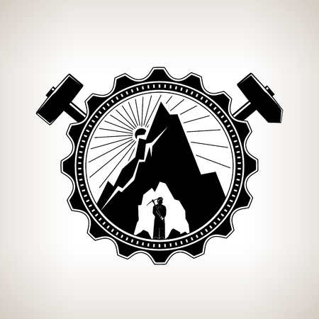 bowels: Miner in the Helmet is Holding Pickaxe in the Bowels of the Mountain on a Background of the Sunburst in a Gear with Crossed Hammer and Sledgehammer , Vintage Emblem of the Mining Industry Illustration