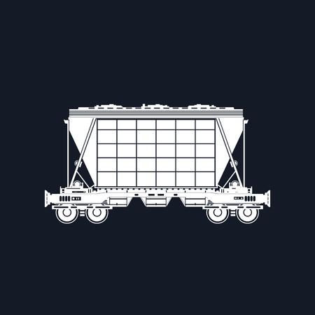 Silhouette White Hopper on Railway Platform Isolated on Black Background, Railway Transport, Hopper Car for Transportation Freights , Vector Illustration