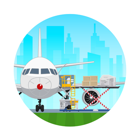 Air Cargo Services and Freight, Icon Airplane with Autoloader at the Airport on the Background of the City , Unloading or Loading of Goods into the Plane, Vector Illustration