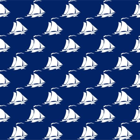 Seamless Travel Pattern with Sailing Vessel , Marine Tourism Concept Vector Illustration Illustration