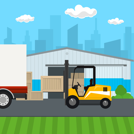 Warehouse with Forklift Truck on the Background of the City , Transportation and Cargo Services and Storage, Vector Illustration Illustration