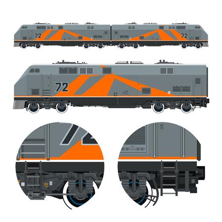 Two Locomotives coupled Together , Rail Transport Vehicle, Orange Train, Rail Transportation, Vector Illustration