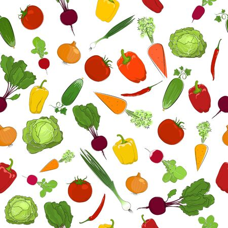 A Seamless Pattern of Fresh Vegetables, Healthy Organic Food Concept, Vector Illustration.