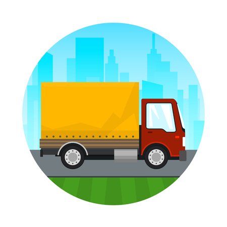 Transportation and Cargo Services, Icon Red Orange Cargo Delivery Truck on the Background of the City, Shipping and Freight of Goods, Vector Illustration Illustration