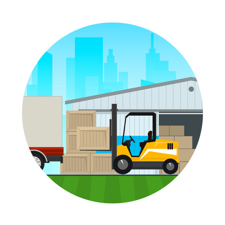 Warehouse Services ,Warehouse with Forklift Truck on the Background of the City , Icon Transportation and Cargo Services and Storage.