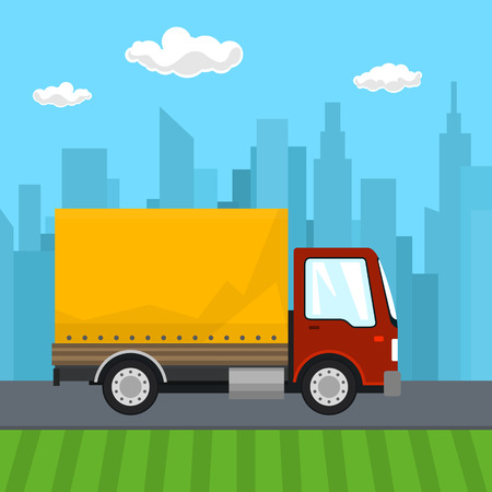 heavy: Transportation and Cargo Services, Red Orange Cargo Delivery Truck on the Background of the City, Shipping and Freight of Goods,Vector Illustration