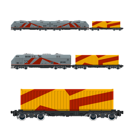 Gray Locomotive with Orange Cargo Container on Railroad Platform , Train , Railway and Container Transport, Vector Illustration
