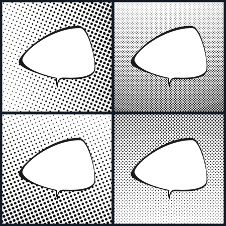 Set of Retro Style Speech Bubble , Pop Art , White Background with Black Dots , Gradient from Upper Right to Bottom Left and Vice Versa, Gradient from the Top Down and Vice Versa, Vector Illustration