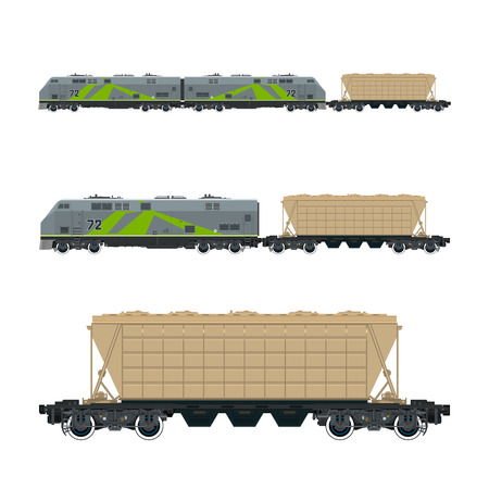 boxcar: Green Locomotive with Hopper Car for Transportation Freights , Train Isolated, Railway and Cargo Transport, Vector Illustration Illustration