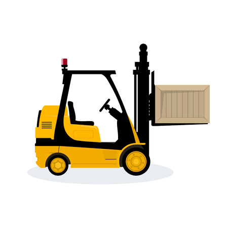 Yellow Forklift Truck Isolated on White Background, Vehicle Forklift Picks up a Box, Vector Illustration