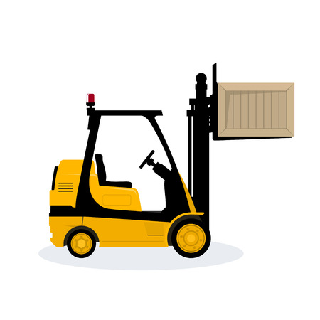 Yellow Forklift Truck Isolated on White Background, Vehicle Forklift Lifted the Box Up, Vector Illustration.