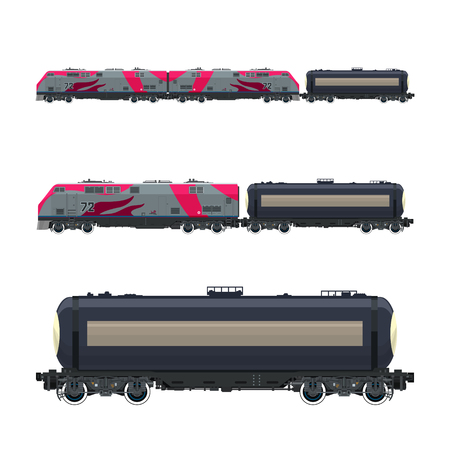 boxcar: Pink Locomotive with Railway Tank Car , Train, Railway and Container Transport, Tank on Railway Platform for Transportation of Liquid and Loose Freights ,Vector Illustration.