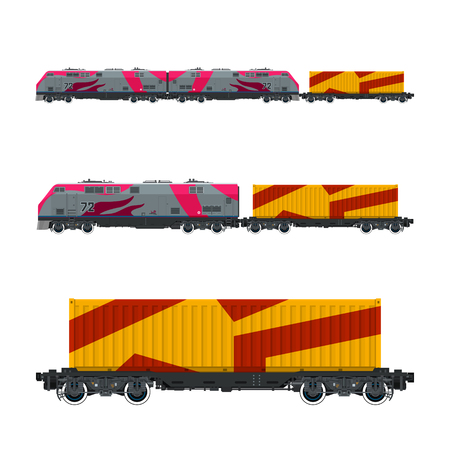 Pink Locomotive with Orange Cargo Container on Railroad Platform , Train , Railway and Container Transport, Vector Illustration.