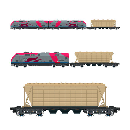 boxcar: Pink Locomotive with Hopper Car for Transportation Freights , Train Isolated, Railway and Cargo Transport, Vector Illustration
