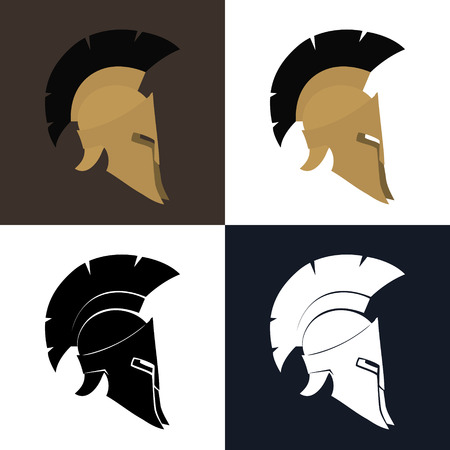 Set of Four Kind Antiques Roman Helmet, Color and Silhouette Greek Helmet for Head Protection Soldiers with a Crest of Feathers or Horsehair with Slits for the Eyes and Mouth, Illustration