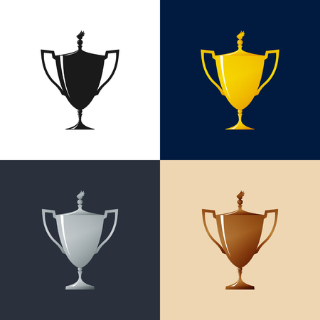 Set of Cups , Gold , Silver ,Bronzed and Silhouette Trophy Cup of Winners , Vector Illustration Illustration