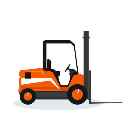 unloading: Orange forklift truck