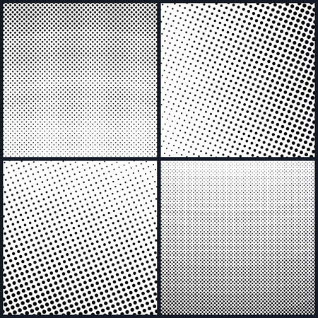 Set of Retro Style Pop Art , White Background with Black Dots , Gradient from Bottom Left to Upper Right and Vice Versa, Gradient from the Top Down and Vice Versa, Vector Illustration