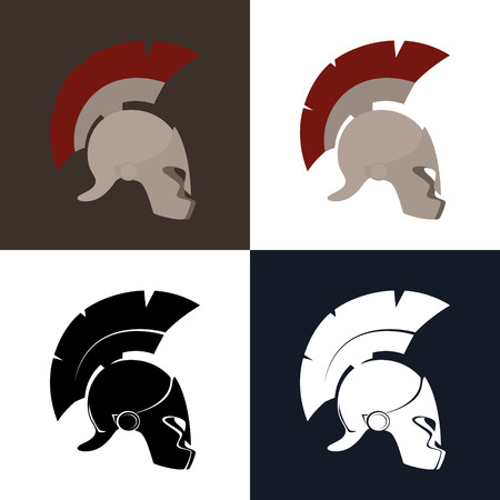 Set of Four Kind Greek Helmet ,Color and Silhouette Antiques Roman Helmet for Head Protection Legionary with a Crest of Feathers or Horsehair with Slits for the Eyes, Vector Illustration