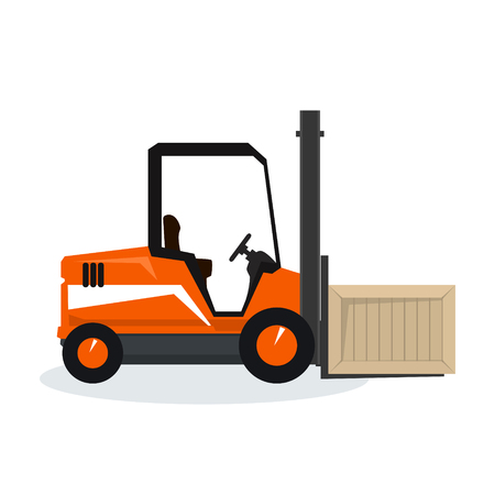 unloading: Orange Forklift Truck Isolated on White Background, Vehicle Forklift Picks up a Box, Vector Illustration