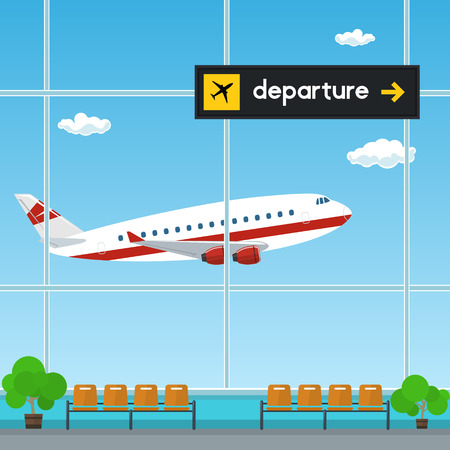 Waiting Room at the Airport , View of a Flying Airplane through the Window from a Waiting Room , Scoreboard Departures from Airport, Travel Concept, Flat Design, Vector Illustration Ilustração