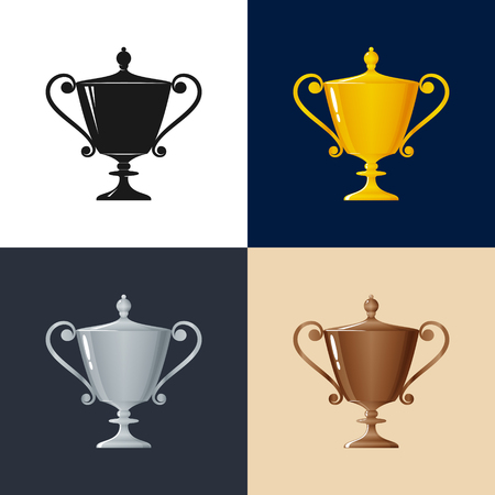 bronzed: Set of Trophy Cups , Gold , Silver ,Bronzed and Silhouette Cup of Winners , Vector Illustration