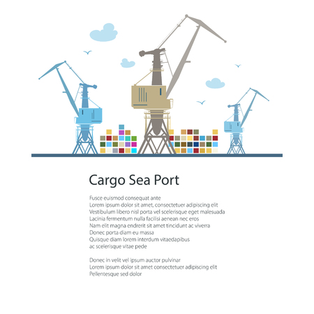 Cargo Cranes and Containers at the Seaport and Text, International Freight Transportation, Poster Brochure Flyer Design, Vector Illustration Illustration