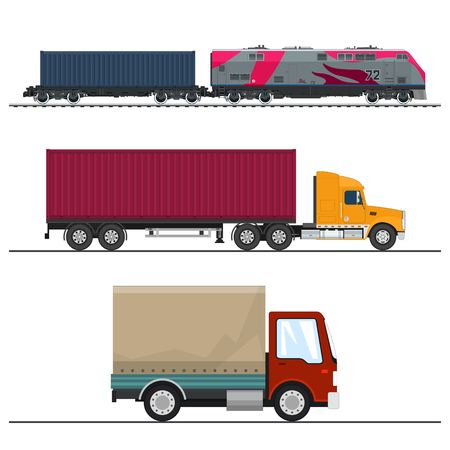 Set of Overland Freight Transport, Delivery Trucks, Locomotive with Cargo Container , Shipping and Freight of Goods, Transportation and Cargo Services, Vector Illustration Illustration