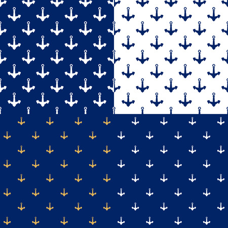 Set of Maritime Backgrounds with Anchor, Seamless Marine Pattern , Travel and Tourism Concept , Vector Illustration